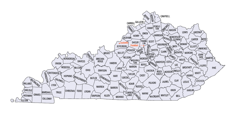 Map of Kentucky counties