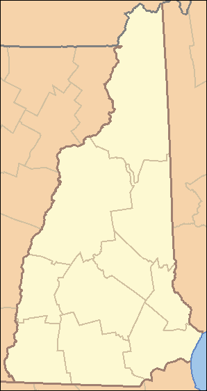 The US state of New Hampshire with county borders